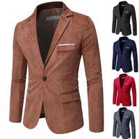 Fatos masculinos blazers 5 cor qualidade casual terno jaqueta corduroy coreano fino moda único ocidental