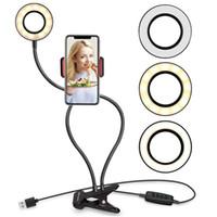 2 en 1 selfie Light Ring avec support de téléphone mobile Support Lazy Support lampe de bureau pour le maquillage LED Diffusion en direct de la caméra Bras flexible