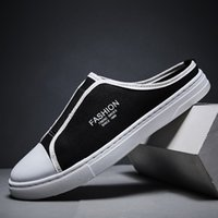 Hommes Lazy Chaussures Casual Mocassins Half Man Flats Chaussures de toile Slip-On respirant moitié Chaussons Loisirs Mode marche Mocassins