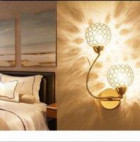 Altın Çift başlı K9 Kristal Duvar lambası Yaratıcı Sanatlar Berth Lambası Kristal Küre LED Duvar Işıklar Kapalı Aydınlatma E14 Ampul LED Ayna Işık