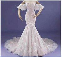 Prawdziwe zdjęcie Vestido De Novian Mermaid Suknia ślubna Sweetheart dekolt Krótki rękaw Court Train Lace Up Wedding Rosną Bride Dress