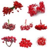 Mixte Rouge artificielle étamine Fleur de cerisier Berries Ensemble de soirée de mariage Accueil bricolage boîte-cadeau Couronne Faux étamine Décoration Supplies8