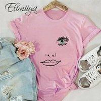 Elimiiya bouche des yeux Imprimer T-shirt à manches courtes femmes Résumé T-shirt 100% coton Chemises drôles ronde MANCHE pour dames