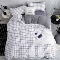 Bonenjoy Queen Размер Пододеяльник белый цвет черный плед микрофибры Реактивная Printed King Size Bed Наборы белье Комплект для спальни