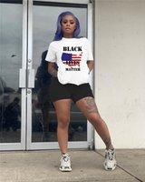 Schwarz Lives Matter Frauen Tracksuits Sommer-Kurzschluss Hülse O-Ansatz Shorts 2ST Sport Sets beiläufige dünne gedruckte Damen zwei Stücke Outfits