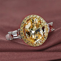 Großhandel ol modeschmuck 925 sterling silbergold füllung oval geschnitten gelb topaz cz diamant edelsteine frauen hochzeit band ring für liebhaber geschenk