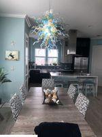 Azul Blanco soplado a mano de cristal colgante hermosa iluminación Arte Murano Boca Blowing Lámpara por Casa Decor