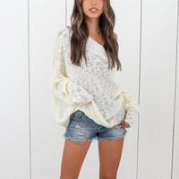 Hülsen-Pullover Frauen Designer Pullover-Boot-Ausschnitt Autumn Frauen Pullover Solid Color lose Boyfriend-Lange