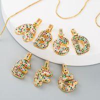 Hip Hop Crystal A-Z 26 Buchstaben CZ Zirkonia Anhänger Halskette Für Frauen Niedlichen Regenbogen Initialen Name Halskette Mode Party Hochzeit Juwelr