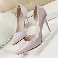 Mujeres bombas altos talones PU punta estrecha individuales de primavera y verano zapatos zapatos de boda fino atractivo de los altos talones Mujer del partido