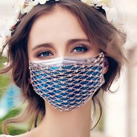 Fashion Blingbling Shiny Diamond with diamond mask mesh Mask...