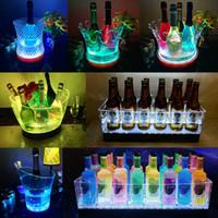 جديد مقاوم للماء LED القابلة لإعادة الشحن دلاء الثلج الاكريليك شفاف حزب ليلة النبيذ حامل تضيء الشمبانيا البيرة برودة الثلج لمدة بار حزب