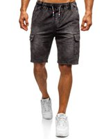 Shorts Denim Casual Men Side Pocket élastique longueur au genou Shorts Hommes Denim Wash
