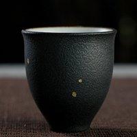 الحجري الرش خمر أسود وعاء الشاي على الطريقة اليابانية كوب واحد الرجعية السيراميك كأس الشاي اليدوية رو فرن فنجان الفن