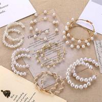 Perlenohrringe Einfaches Normalgold-Farbe Metall-Perlen-Reifen Ohrringe Ohrringe Ohrringe Ohrringe für Frauen Hochzeit Brinco Schmuck