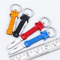 في الهواء الطلق البسيطة سكين للطي مع فتاحة زجاجات 2 في 1 سكين جيب متعدد الوظائف بقاء سكاكين المحمولة صابر مفتاح قلادة سكين الفاكهة EDC