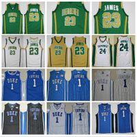 St Vincent Mary High School de Irish 23 LeBron Jerseys Branco Verde St. Patrick Kyrie Irving Basketball Jersey Blue Devils