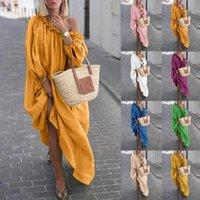 ملابس النساء الخريف بوهو زائد الحجم فساتين عادية قبالة الكتف خمر اللباس فضفاض فستان ماكسي الجلباب Vestidos فام