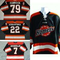 Herren Womens Kids Anpassen ECHL Fort Wayne Komets 79 Kayleigh Schrock 22 Jamie Schaafsma 100% Stickerei Billig Hockey Trikots Goodit Cut