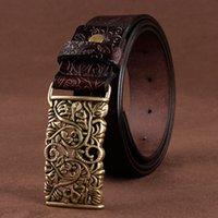 [LFMB] Belt Para Mulheres Cintura Cowskin Leather Lady Belt vintage Moda mulher Jeans Cinturão Feminino CX200722 Pin Buckle oco Flower
