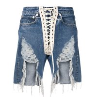 CHICEVER Asymmetric Ripped Hole Denim Short Pants Women High...