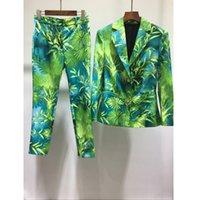 6.10 Sommer-neue Art und Weise grüne Dschungel-Druck-Blazer-Mantel + Weinlese-Druck Hosen Grün Jungle Party Sets Vestidos
