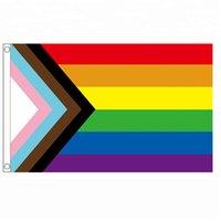 frete grátis Aerlxemrbrae do arco-íris Bandeira 150X90CM bandeira Polyester grommets lgbt bandeira do orgulho gay Progresso do arco-íris