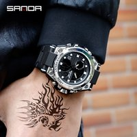 SANDA New Men Sports Watches Big Dial Casual Watches For Men LED Digital Waterproof Outdoor Male Watch