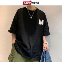 LAPPSTER Erkekler Harajuku M Baskı Yaz Tişörtlü Tees 2020 Mens Siyah Koreli modası Komik En Tshirts Japon Streetwear Giyim