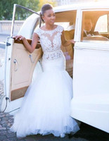 African Bride Wedding Dresses Mermaid Cap Sleeve Open Backle...