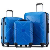 3 st Bagageuppsättning, bärbar ABS-vagn 20/24/28 tums blå, utdragbar 8-hjuls roterande bagage, med teleskophandtag, resevagn med