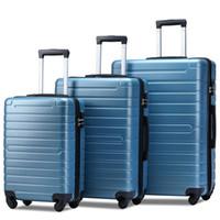 3 bitar av bagage, bärbar ABS-vagn 20/24/28 tums stålblått, expanderbart 8-hjuls roterande bagage, med teleskophandtag, reseband