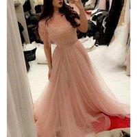 Arabe peau rose Une ligne Robes de bal Tassel perles Tulle Longueur robes du soir étage robe de Formatura Robes formelles Robes de bal