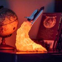 3D-Druck Space Shuttle Lampen-Nachtlicht für Space Fans Moon Lamp Rocket-Lampe als Raumdekoration