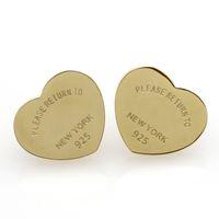 Pendientes de tres colores para las mujeres románticas encantadoras de acero inoxidable Stud Pendientes con letras inglesas Regalo de joyería fina