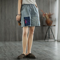 Summer Denim Shorts Women Casual Patchwork Embroidery Loose ...