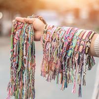 Joyería del estilo de Colorfu VSCO chica tejidos a mano pulsera de verano de Boho pulseras de la vendimia 1.5cm Ancho de punto de algodón unisex Pulsera de la amistad