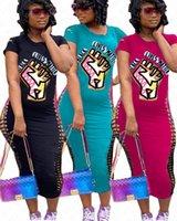 BLACK MATTER lettres Imprimer VIES T-shirt longue robe femmes cassé trou manches courtes robes moulante Slim Sexy One Piece Robe Jupes D71401