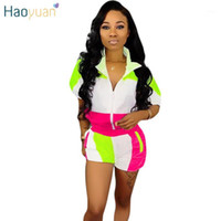 HAOYUAN Plus Size Two Piece Set Summer Clothes for Women Matching Sets Neon Top and Biker Shorts Sweat Suit Casual Tracksuit1