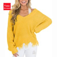 Vana Javeasen Off The Shoulder Autumn Sweater For Women Frin...