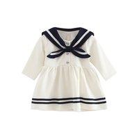 كلية نمط الأميرة اللباس بنات البحرية نمط الربيع اللباس الأطفال تنورة الطفل بأكمام طويلة 0-3 سنوات من العمر