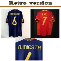 Retrò classico camicia 2002 2010 Spagna Maglia calcio XAVI A.INIESTA PIQUE RAMOS DAVID VILLA TORRES LUIS ENSRIQUE Guardiola di calcio 1994