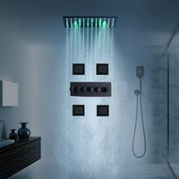 European Square Matt Black Massage Jet Ceiling Shower Valve System LED Rain Shower Head Faucet Bathrrom Thermostatic Rainfall Showerhead Set