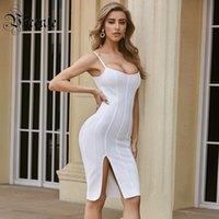 VC todo el envío gratis 2020 Nueva moda vestido blanco sin mangas atractivo de Split Diseño de la celebridad del partido del vendaje del club Slip vestido Vestido