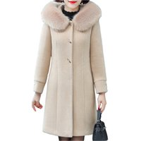 High-quality women's winter clothing mink down coat new loose hooded woolen coats ladies thick mid-length parka overcoat