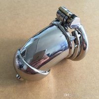 New design 78mm length Stainless Steel Super Small Male Chastity Device with Catheter and anti-off version Short Cock Cage For BDSM