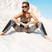 Sports Two Piece Suit Women Tracksuit Sexy Leopard Crop Tops...