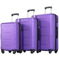 """3 Stück Kofferset, beweglicher ABS Trolley 20"""" / 24"""" / 28"""" purple, dehnbare 8-Rad-Spinner Gepäck Set mit Teleskopgriff,"""