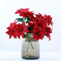 """Fałszywe Poinsettia (7 głowic / pęczek) 14.17 """"Długość symulacja aksamitna Boże Narodzenie kwiat na ślub domu dekoracyjne sztuczne kwiaty"""