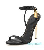 La venta caliente de plata-oro de cuero tacones altos sandalias gladiador de la correa del tobillo del candado bombas de las mujeres del dedo del pie abierto de metal Tacones Zapatos de mujer